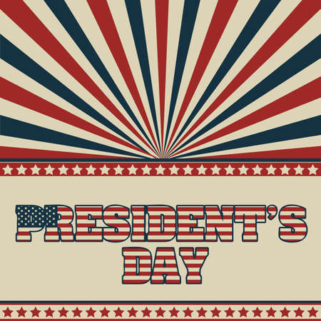patrotismo: Poster illustration of Presidents Day in the United States of America in vintage style, vector illustration