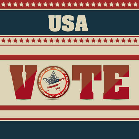 Poster illustration of votes of the United States of America in vintage style, vector illustration Vector