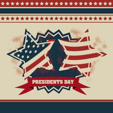 presidency: Poster illustration of Presidents Day in the United States of America in vintage style, vector illustration