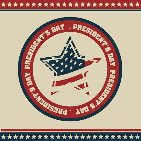 american poster: Cartel del D�a de la ilustraci�n del Presidente de los Estados Unidos de Am�rica en estilo vintage, ilustraci�n vectorial