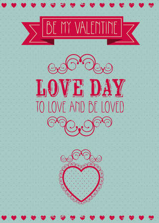Poster illustration of Valentines Day, the day of love and friendship, vector illustration Vector