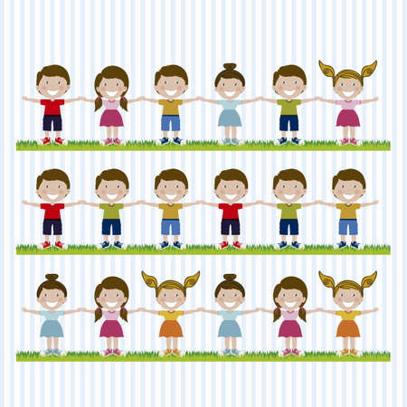 Illustration of kids team, in cartoon style and sketch, vector illustration Stock Vector - 17432774