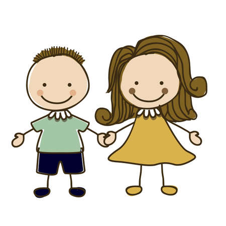 camaraderie: Illustration of kids team or couple, in cartoon style and sketch, vector illustration Illustration