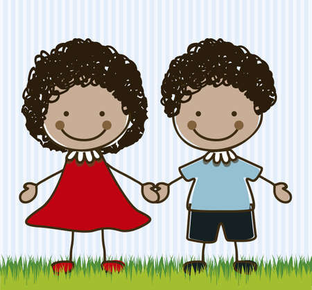 Illustration of kids team or couple, in cartoon style and sketch, vector illustration Illustration