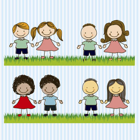 circle of friends: Illustration of kids team or couples, in cartoon style and sketch, vector illustration Illustration