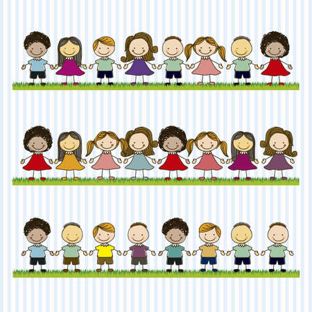 buddies: Illustration of kids team, in cartoon style and sketch, vector illustration