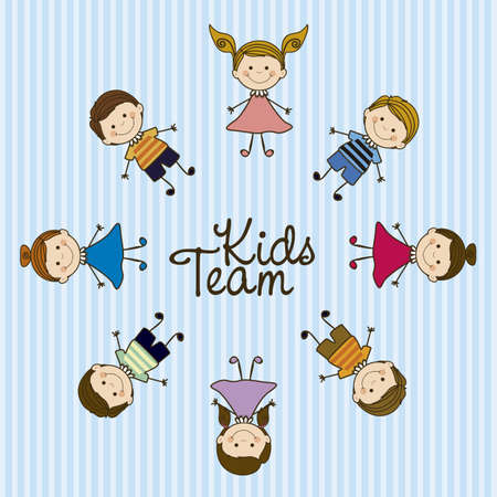 camaraderie: Illustration of kids team, in cartoon style and sketch, vector illustration