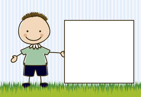 camaraderie: Illustration of boy, in cartoon style and sketch, vector illustration Illustration