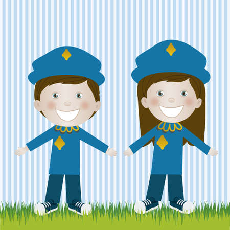 camaraderie: Illustration of police man and woman, in cartoon style and sketch, vector illustration