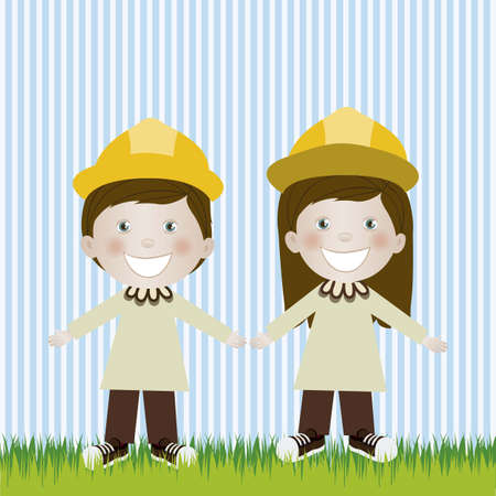 camaraderie: Illustration of engineer man and woman, in cartoon style and sketch, vector illustration Illustration