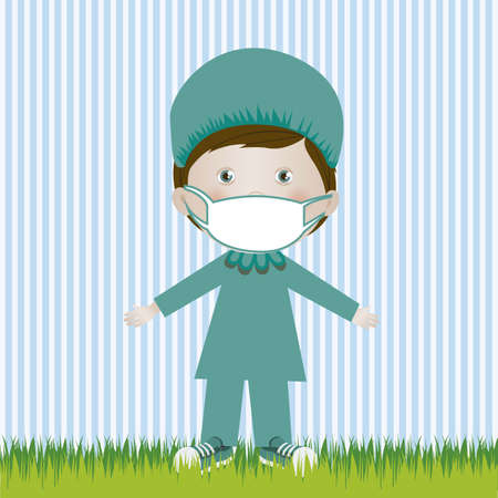 camaraderie: Illustration of surgeon man, in cartoon style and sketch, vector illustration
