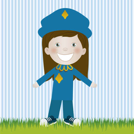 Illustration of police woman, in cartoon style and sketch, vector illustration Vector