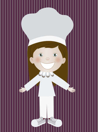 Illustration of chef woman, in cartoon style and sketch, vector illustration Vector