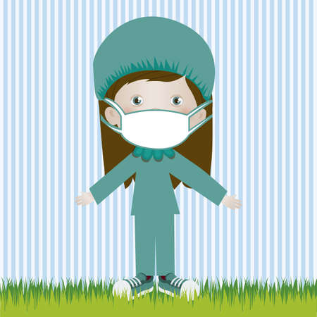 Illustration of surgeon woman, in cartoon style and sketch, vector illustration Vector