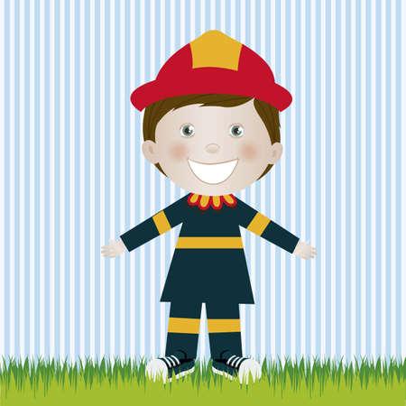 camaraderie: Illustration of firefighter man, in cartoon style and sketch, vector illustration Illustration
