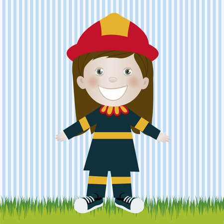 camaraderie: Illustration of firefighter woman, in cartoon style and sketch, vector illustration