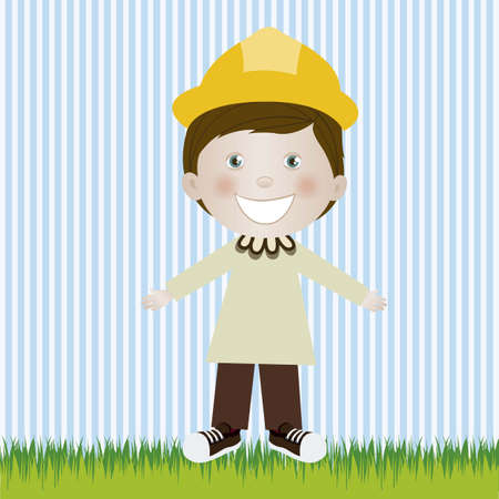 camaraderie: Illustration of engineer  man, in cartoon style and sketch, vector illustration