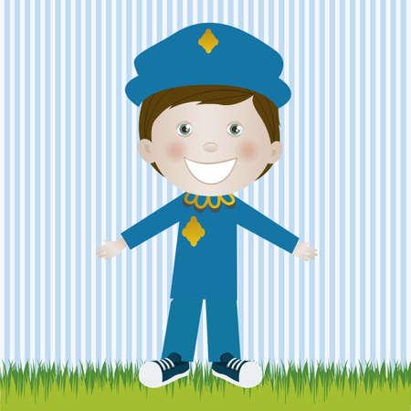 camaraderie: Illustration of police, in cartoon style and sketch, vector illustration Illustration