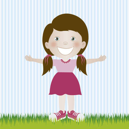 camaraderie: Illustration of girl, in cartoon style and sketch, vector illustration