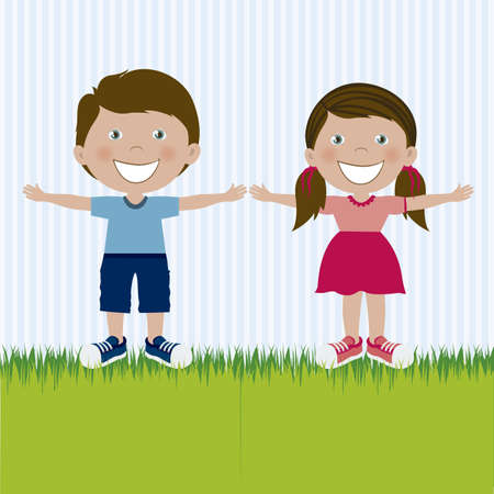 Illustration of kids team or couple, in cartoon style and sketch, vector illustration Stock Vector - 17432049