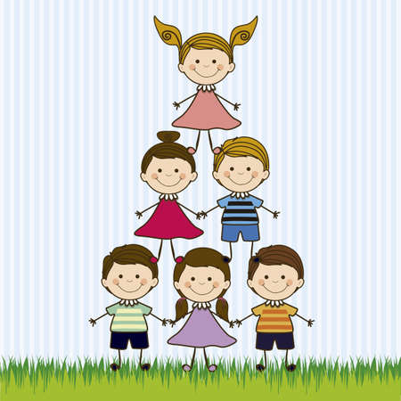 Illustration of kids team, in cartoon style and sketch, vector illustration Stock Vector - 17432643