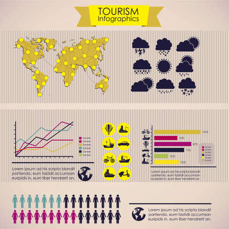 illustration of tourism infographics, with colors graphs and tourism icons, vector illustration Stock Vector - 17432858