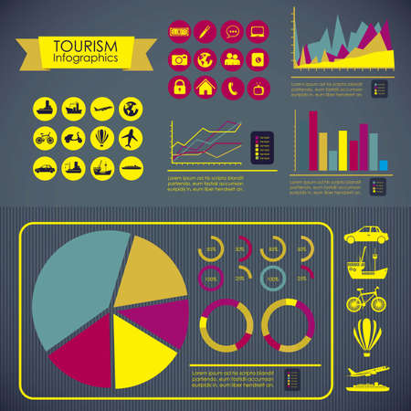 illustration of tourism infographics, with colors graphs and tourism icons, vector illustration Vector
