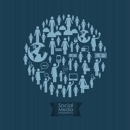 illustration of Social Media Infographic, with business and social networks infographic, vector illustration Vector