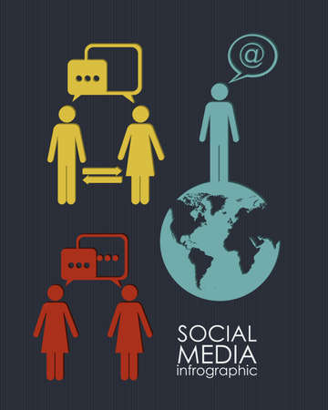illustration of Social Media Infographic, with social networks infographic, vector illustration Vector