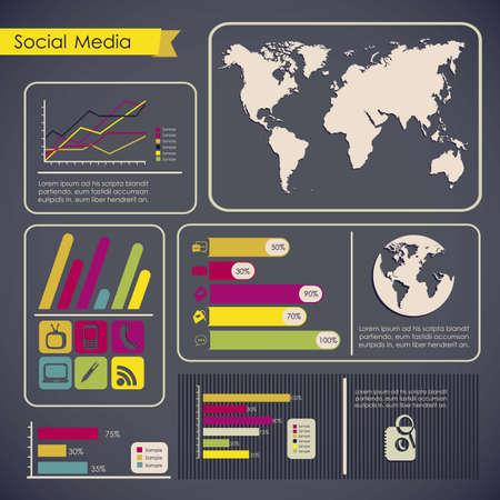 illustration of Social Media Infographic, with colors graphs and business icons, vector illustration Stock Vector - 17432789