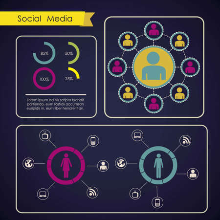 illustration of Social Media Infographic, with colors graphs and business icons, vector illustration Stock Vector - 17432629