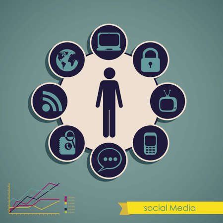mobile communication: illustration of Social Media Infographic, with colors graphs and business icons, vector illustration Illustration