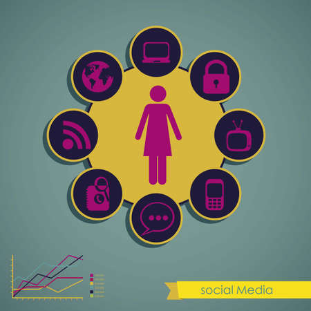 illustration of Social Media Infographic, with colors graphs and business icons, vector illustration Stock Vector - 17432041