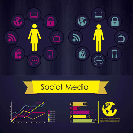 illustration of Social Media Infographic, with colors graphs and business icons, vector illustration Stock Vector - 17432633