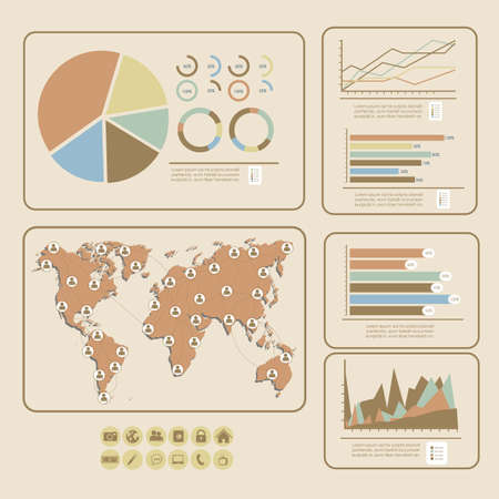 illustration of Social Media Infographic, with colors graphs and business icons, vector illustration Vector