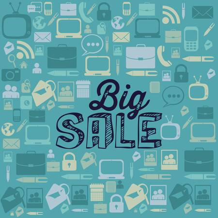 Illustration of  Big Sale label, in blue colors, vector illustration Stock Vector - 17615612