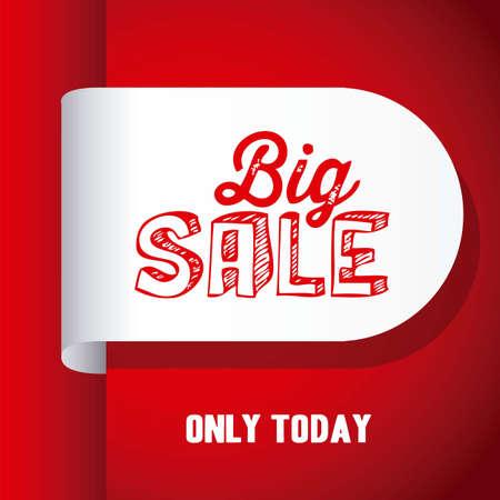 Illustration of  Big Sale label, in red color, vector illustration Vector