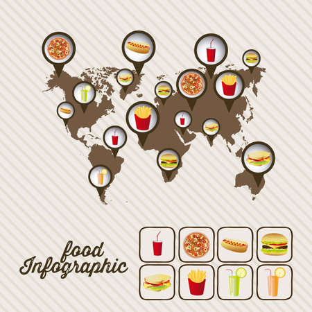 Illustration of food infographics, with food icons, vector illustration Vector