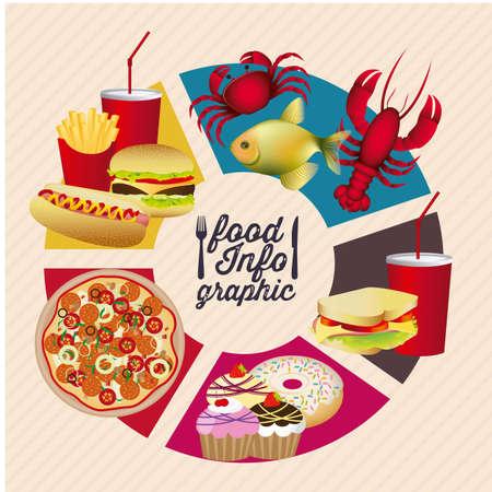 Ilustración de la infografía de alimentos, con los iconos de los alimentos, ilustración vectorial