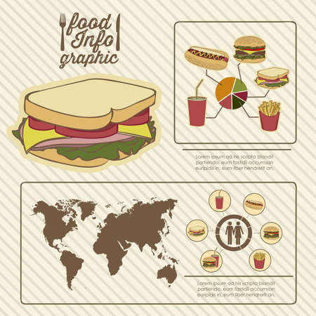 Illustration of food infographics, with food icons, vector illustration Stock Vector - 17615683