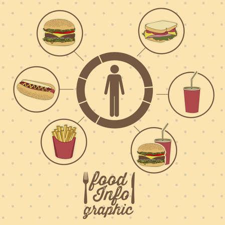Illustration of food infographics, with food icons, vector illustration Ilustração
