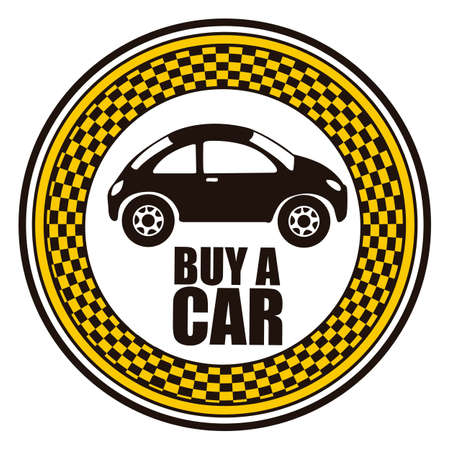 Illustration of buy a car label, car sale,  vector illustration Vector