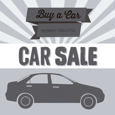 auto racing: Illustration of buy a car label, car sale,  vector illustration