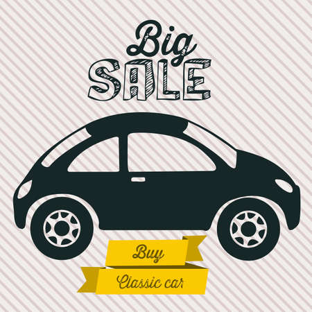 Illustration of  Big Sale label, Buy a car, vector illustration Vector