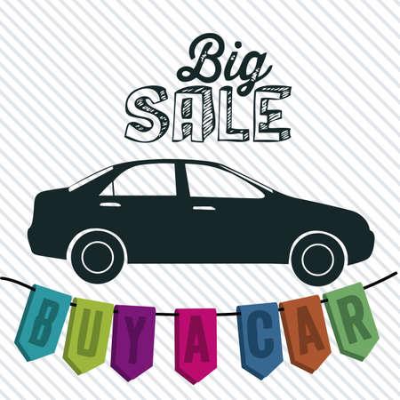 Illustration of  Big Sale label, Buy a car, vector illustration Stock Vector - 17614501