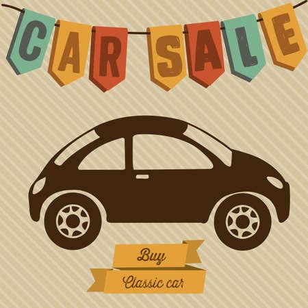 rent car: Illustration of buy a car label, car sale,  vector illustration