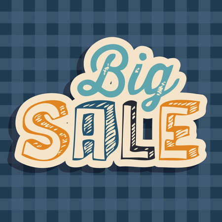 Illustration of  Big Sale label, with squares, vector illustration Vector