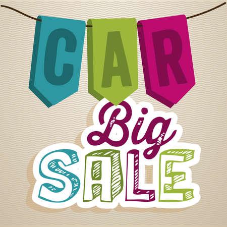 Illustration of Big Sale label, Buy a car, vector illustration