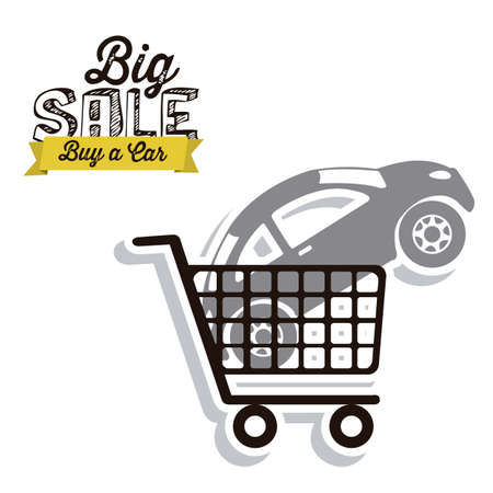 dealer: Illustration of  Big Sale label, Buy a car, vector illustration Illustration