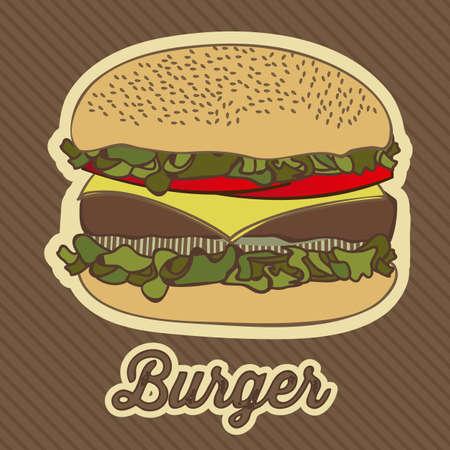 illustration of a vintage burger, fast food Stock Vector - 17733795